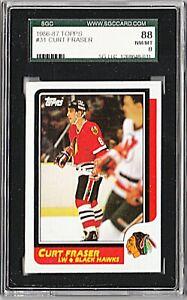 1986-87 TOPPS #31 CURT FRASER Chicago Blackhawks Card GRADED SGC 8.0 NM/MT