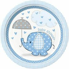 Boy Boys Baby Shower Party Tableware Decorations Blue Umbrellaphants 8 X 9inch Paper Plates