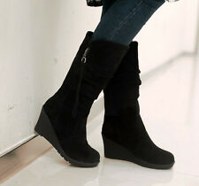 European Womens knee High Boots Suede Wedge Shoes Fall Height round toe winter