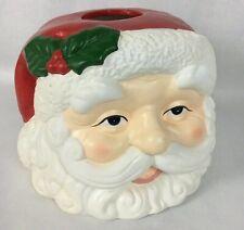 Rare Vintage Ceramic Painted Santa Claus Head Kleenex Tissue Box Cover Christmas