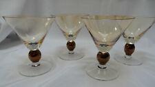 Set of 4 Krosno Poland Martini Glasses Amber/Gold w/Bronze Ball Stem