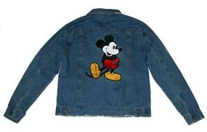 Levi's Embroidered Applique Iconic Mickey Mouse Pose Denim Trucker Jacket Mn's M
