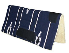 NEW Indigo Blue Western Stock Saddle Thick Fleece Pad Blanket Navajo Leather
