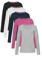Ladies Womens Womans Plain Cotton Elastane Long Sleeve Vee V-Neck Tee T-Shirt