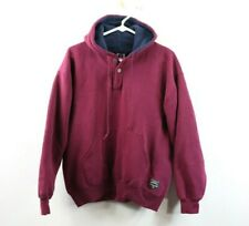 Vtg 90s Russell Athletic Mens Large Spell Out Henley Hoodie Sweater Purple USA