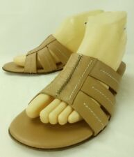 Amalfi Womens Shoes Sandals Wedge US 8 B Tan Leather Slip-on Slides Italy 5202
