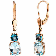 44858 Boutons 585 Gold Rotgold 2 Blautopase Hallblau blau Ohrringe Ohrhänger