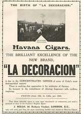 1905 Havana Cigars La Decoracion J Riego Holborn Viaduct Vintage Small Ad