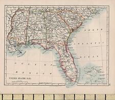 1892 VICTORIAN MAP ~ UNITED STATES SOUTH EAST ~ FLORIDA ALABAMA GEORGIA