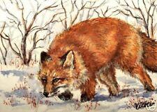Red  * Fox * Winter  Snow  2  O/E Print  ACEO by Vicki