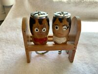 Vintage Wood Salt & Pepper Shaker Man and Woman on Bench Bottle Opener Corkscrew
