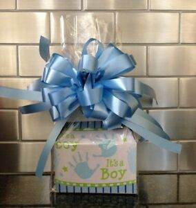 It's A Boy Gift Box-Basket Wrapped With Bow-Card & 1/2 LB Sunshine Hard Candy