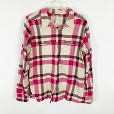 Patagonia Ladies Pink Long Sleeve Plaid Button Up Shirt Size 14