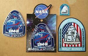 Authentic/Original USAF Spacex F9 Crew Dragon DM-2 Mission Patch & Coin - 4pcs.