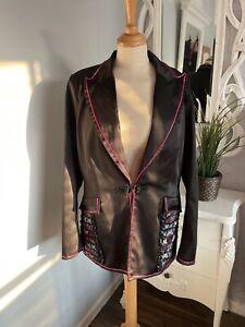 Roman Originals SATIN Oriental Black Butterfly Evening Jacket Blazer UK 16