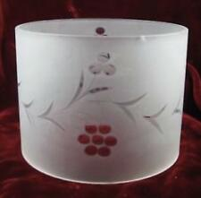 Frosted Glass Lampshade Cylinder Flower Garlands Mid Century Modern Vintage (O)