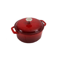 26cm 5.4lt Large Professional Cast Iron Casserole Dish With Lid Cooking Oven Pot