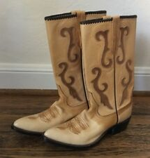 Vintage Rios of Mercedes Inlay & Stitching Western Ranch Cowboy Boots Size 7