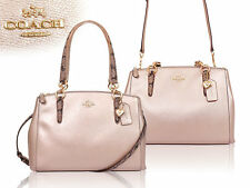 COACH AUTHENTIC CHRISTIE CARRYALL IN METALLIC LEATHER WITH EXOTIC TRIM F56853