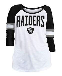 """Oakland Raiders Women's New Era NFL """"Punt"""" Dual Blend 3/4 Sleeve Shirt"""