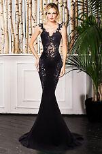 Abito lungo aperto Nudo Scollo Ricamato Cerimonia Party Mermaid Evening Dress M