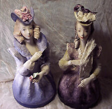 Antique Cordey 2 Large Bust Figurines Beautiful Design Dresses