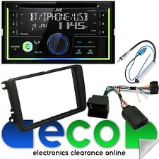 VW Golf MK5 Jvc Doble Din Bluetooth CD MP3 USB AUX estéreo de coche & Kit De Montaje swc
