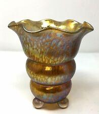 Superb Antique Art Deco Loetz Vase with Applied Feet and Candia Papillon Decor