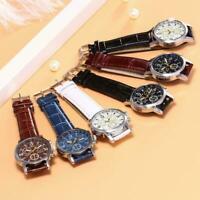 Herren Leder Militär Casual Analog Quarz Armbanduhr Armbanduhr Z3F6