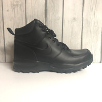 Nike Manoa Mens Leather Water Resistant Work Boots Triple Black 454350-003 9 10
