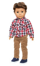 PLAID SHIRT + TAN PANTS + SHOES Doll Clothes for 18 in American Boy logan Doll