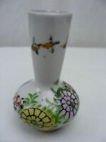 Vintage 1950's 3 Inch Miniature Bud Vase Made In Japan Porcelain Floral w Birds