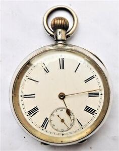 NO RESRVE OMEGA c1910 Silver Mechanical Pocket Watch Vintage Antique