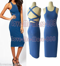 HOT Celebrity Casual Party Open Back Sheath Stretch Bodycon Shift Midi Dress 2XL