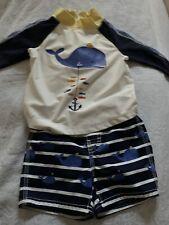 Toddler Boys Baby Gap Swim Suit Trunks & LS Rash Guard Set 12-18M Blue Whale