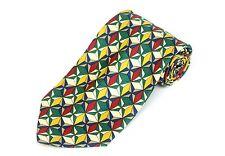 Iguelfi Hombre Corbata Beis Verde Amarillo & Azul Geométrico de Seda Nuevo