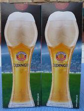 2x Erdinger Weißbier, Fußballglas 0,5l, Europameisterschaft 2016, Gold Pokal