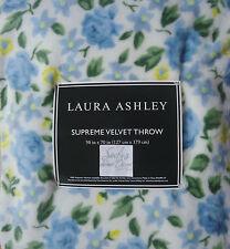 Laura Ashley ROSE COTTAGE Plush *VELVET THROW BLANKET* Blue Green Yellow Shabby