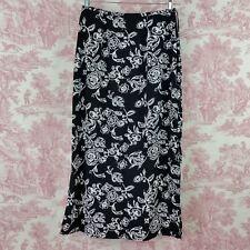 Kathie Lee Maxi Skirt Womens Size 10 Black White Floral Side Slits Back Zipper