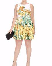 Julian Taylor Scuba Knit Fit And Flare Pleated Dress In Garden Print Size 22W