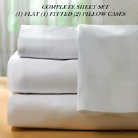 1 queen size white new sheet set percale hotel flat fitted 2 cases series T250