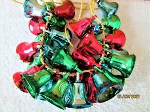 33 VINTAGE COLORFUL PLASTIC CHRISTMAS TREE BELL ORNAMENTS