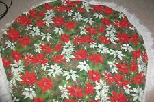 Vintage Round Cotton Red White Green Poinsettia Christmas Tablecloth Fringe 54""