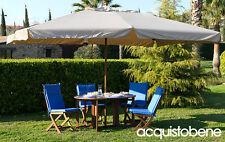 Ombrellone giardino palo centrale 3x4 in legno con carrucola e top impermeabile