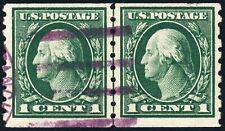 US 412 1¢ 1912 George Washington Perf 8½ horizontal coil line pair F-VF Used