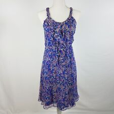 MM Couture Miss Me 100% Silk Dress Floral Ruffle Blue Size M
