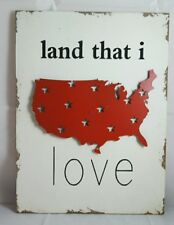 """Usa Red White Sign Wood Metal Patriotic Land That I Love Wall Art Decor 11""""x15"""""""
