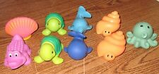 Elegant Baby Squirties Used Sea Ocean Animals Bath toy set Squirt Toys 9 pc Lot
