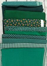 Green Quilt Cotton Lot 10+ Yards Small Print Sewing Fabric Material 3lb Craft