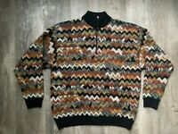 VTG Riscatto Mens 90s Retro Sweater Biggie Cosby Coogi Large Italy Multicolor